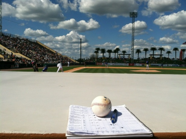 Scorebook and ball at a Spring Training game in 2012.